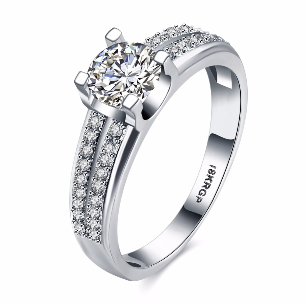 Fashion Promise Ring Engagement Rings Women Jewelry Round Shaped Zirconia Rings for Women Wedding Love Gifts(RI102233)