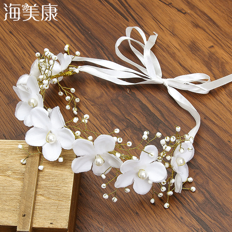 Haimeikang New Handmade Slik Flower Pearl Wreath Headband Ribbon Beauty Bridal Floral Garlands Wedding Women Hair Accessories