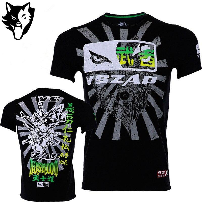 VSZAP Boxing MMA Rashguard T Shirt Gym Tee Shirt Fighting Martial Arts Fitness Training Muay Thai T Shirt Men Homme Jersey