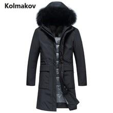 KOLMAKOV 2017 new winter high quality men's fashion long hooded fur collar down jacket,80% white duck down coat parkas men.M-3XL