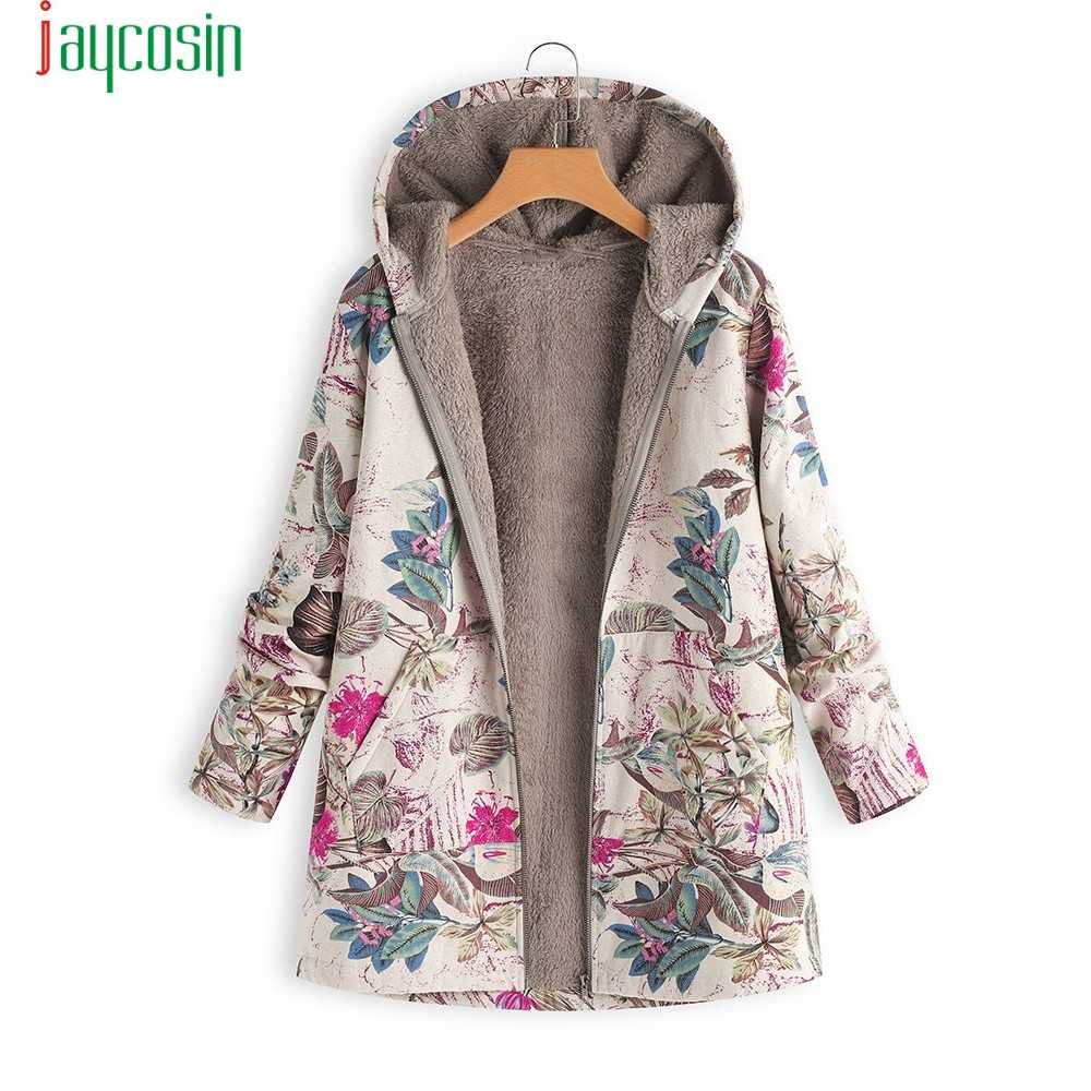 JAYCOSIN ホットピンク冬のジャケットホット販売レディース暖かい生き抜く花柄フード付きポケットヴィンテージオーバーサイズコートプラスサイズ 5XL