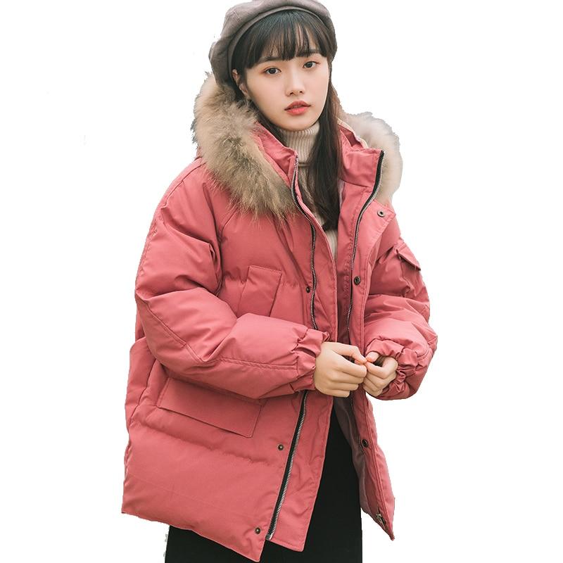 Amovible Capuche Pour Manteau Rembourré Coréenne Fourrure Style Pengpious Lâche Hiver Femmes Capuchon Coton À De Mode gTq7P