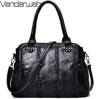 NEW Weave Fashion Casual Tote Genuine Leather Sheepskin Women Bags Handbags Women Famous Brands Fashion Shoulder