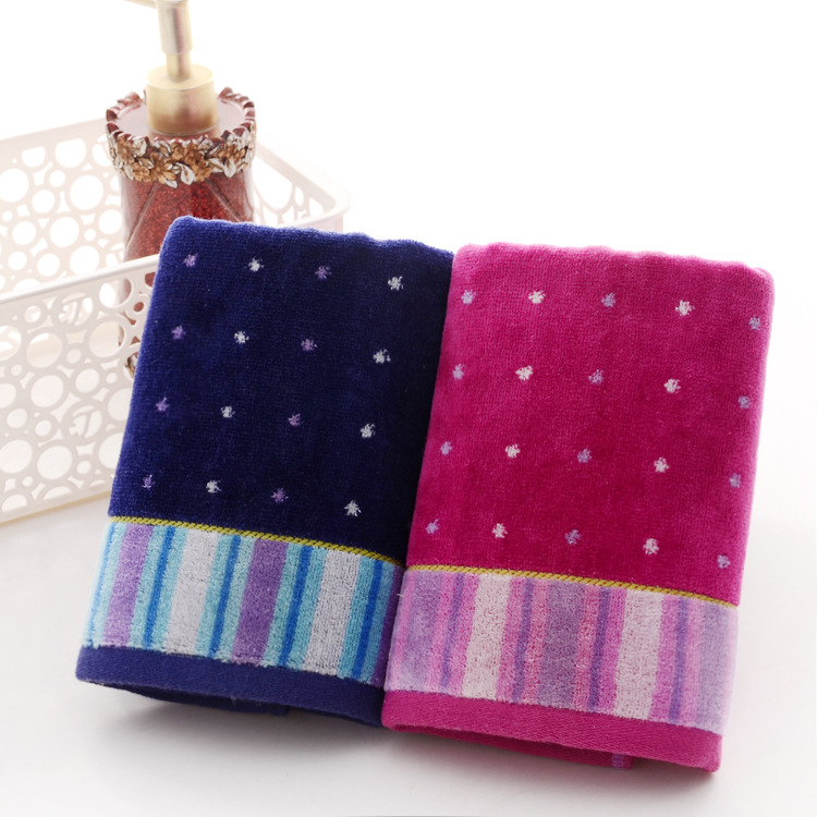 Embroidered Terry Cloth Hand Towels: 2Pcs*lot Embroidered Bowknot 100% Cotton Terry Face Towel