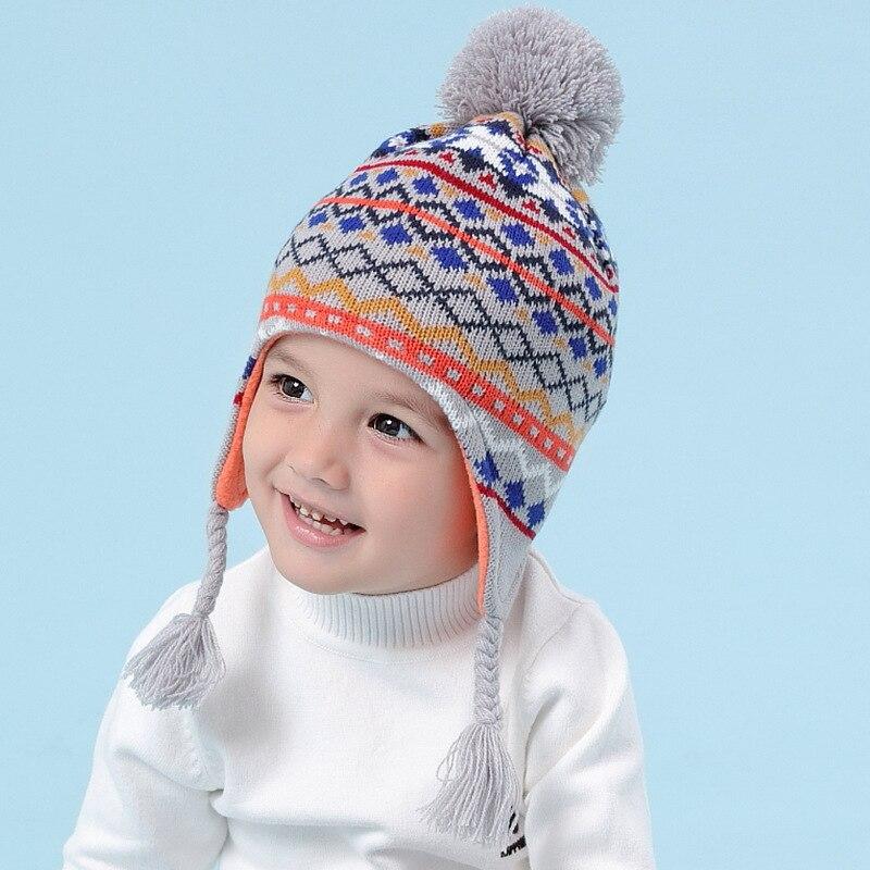 Kinder Gestrickte Hut Schal Kinder Winter Warme Mütze Ohr Schutz Kind Ohr Schützen Kappe Wärme Pullover Boy Schnee Kappe Schals B-9487 FüR Schnellen Versand