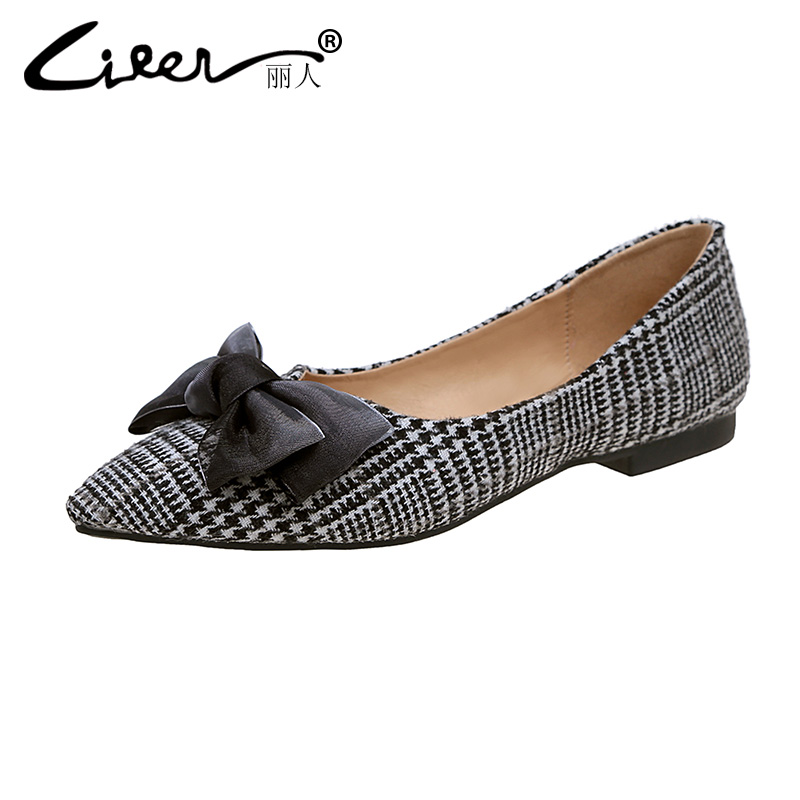Liren Fashion Bowtie Spring Women Flats Pointed Toe Stripe Working Zapatos Mujer Slip On Shoes Women Soft Shallow Women Flats