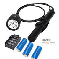 Nitesun/Brinyte DIV10 LED Diving Light CREE XML2 3000lm LED Scuba Diving Torch Flashlight 200M Underwater Lamp + battery charger