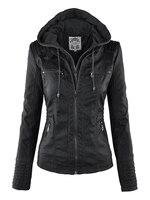 Gothic faux leather Jacket Women hoodies Winter Autumn Motorcycle Jacket Black Outerwear faux leather PU Jacket 2018 Coat HOT