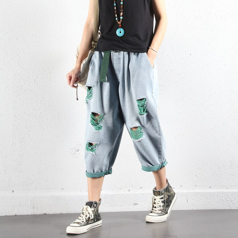 Women BF Style Harem Jeans with Belt Streetwear Elasitc Waist Ripped Baggy Denim Trousers