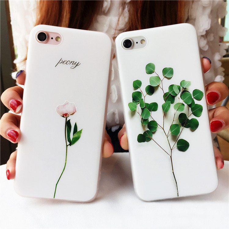 For iPhone 7 Case, Premuim 3D Leaf Flower Soft Floral Pattern Cover For iPhone7 Plus Cas ...