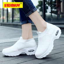 2019 New Spring Women Sneakers Shoes Flat Slip on Platform Black Breathable Mesh Sock High Quality Comfortable