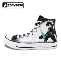 Anime Sword Art Online Converse Shoes For Men Women Hand Painted Custom Black Sneaker Canvas Shoes