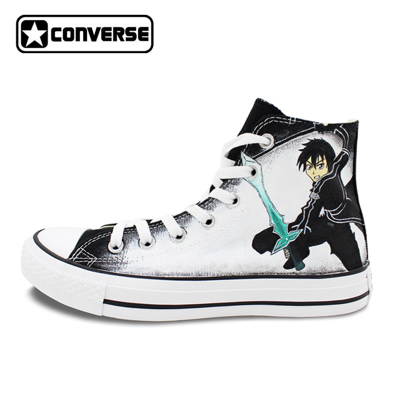 High Top Converse All Star Women Men Shoes Anime SAO Sword Art Online Design Custom Hand Painted Shoes Black Boys Girls Sneakers sneakers men women converse all star anime fairy tail galaxy design custom hand painted shoes man woman christmas gifts