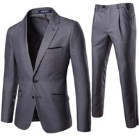 Men's suit set 2 piece professional business formal suit best man groom wedding dress XF011