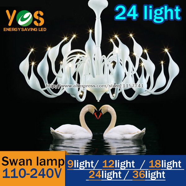 hot selling 24 light fashion LED 1.5W Swan chandelier modern lamp /retail red/white/black/silver - YOS store