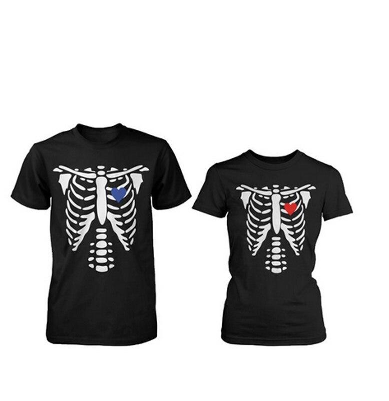 இHalloween Horror Camisas esqueleto rayos X corazones matching T ...