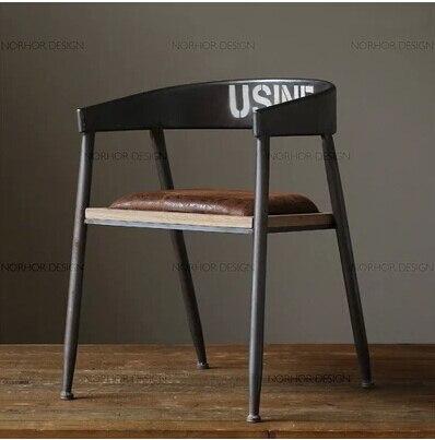 American Village Wrought Iron Garden Chair With Cushion Chairs Bar  Continental Retro Lounge Chair Wood Chair
