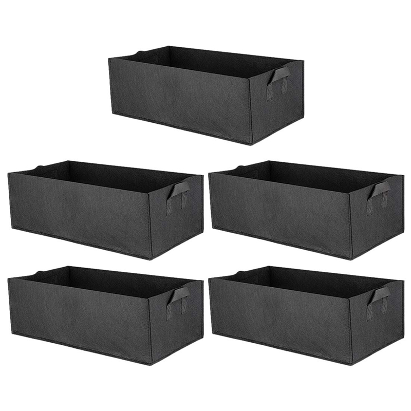 Best 5 Pack Fabric Raised Garden Bed Square Garden Flower Grow Bag Vegetable Planting Bag Planter Pot with Handles for Plants |Grow Bags| |  - title=