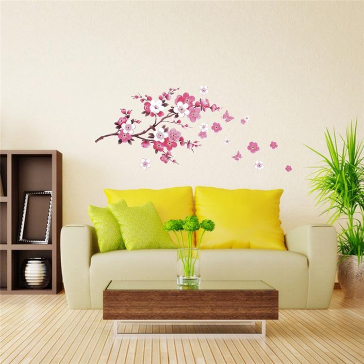 New Fashion Hot Sale sakura flower wall sticker bedroom viny decal ...