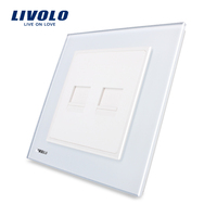 Free Shipping Luxury White Crystal Glass Panel 2 Gangs Multi Function Wall Computer Sockets CE Approval