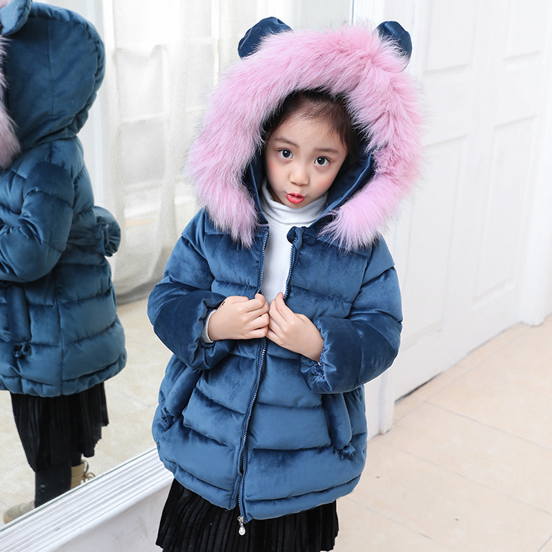 2 Colors Girls Winter Coats Gaueey Hooded Kids Winter Jackets Faux Fur Hat Children Cotton-padded Winter Coat Thick Girl Clothes girls parka coats 2016 girls faux fur coat winter coat medium long kids girls brand children jackets elegant childrens clothes