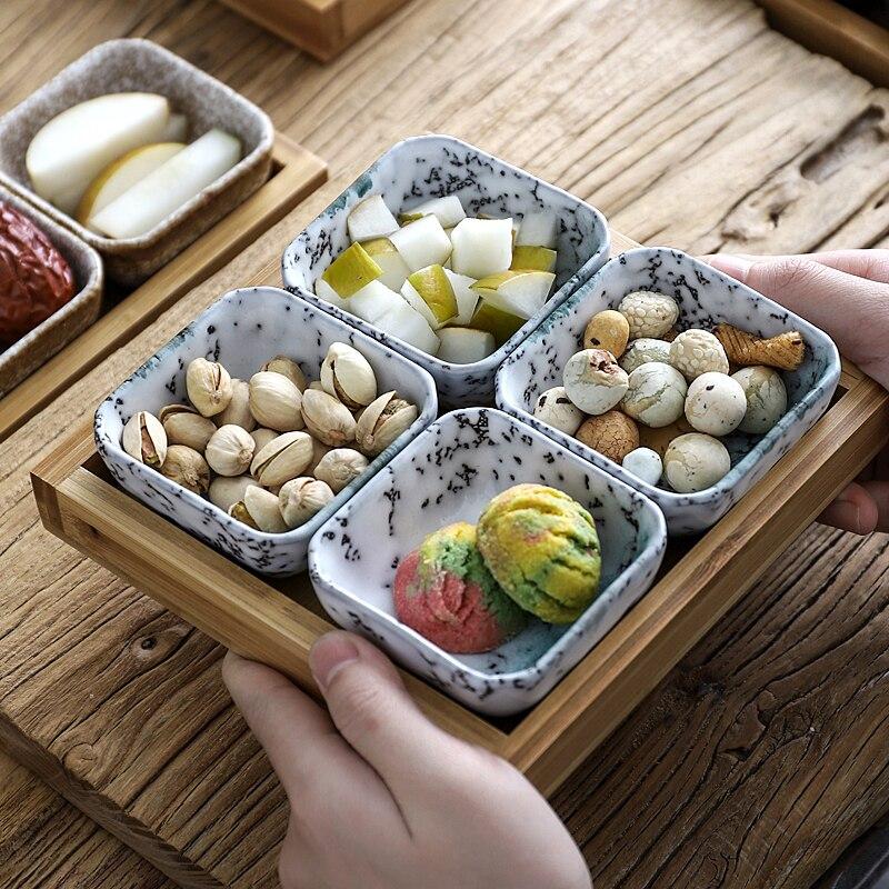 Креативная керамическая сетки Фруктовая тарелка для закуски пластины сервировочное блюдо японская маленькая тарелка с подносом домашних настольных высушенный плодоовощ закуска лоток-3