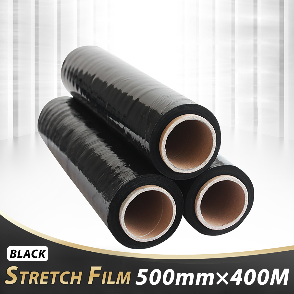 1Pcs 500mmx400M Black Stretch Film PE For Carton Pallet Shrink Wrap Packing накопитель подгузников diaper champ regular цвет bronze белый бронза пр нидерланды
