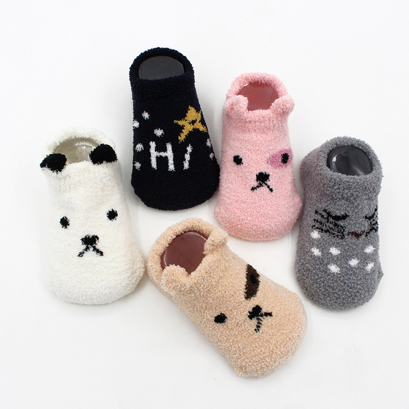 0 2 Years Autumn Winter Children Socks Thickened Coral Velvet Baby Floor Socks Cartoon Anti Slip Newborn Socks Dispensing Socks in Foot Socks from Mother Kids