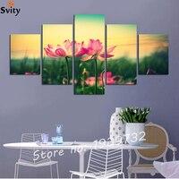 Nature Landscape Nature Flowers Lotus Flowers 5 Panel Home Decoration Canvas Poster Print F1729 No Frame