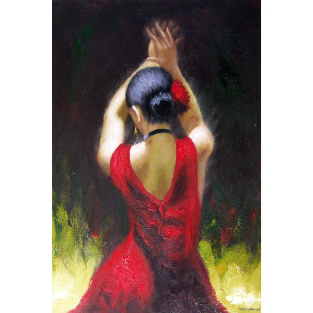 Us 80 25 25 Off Hand Painted Oil Paintings Canvas Art Flamenco Dancer In Red Dress Figure Art Woman For Home Decoration In Painting Calligraphy