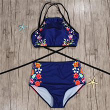 Women Blue Flower Printing Halter Bikini Set Backless Tank High Waist Two Pieces Swimwear 2019 Girl Sexy Swimsuits Crop Top halter backless shirred waist top
