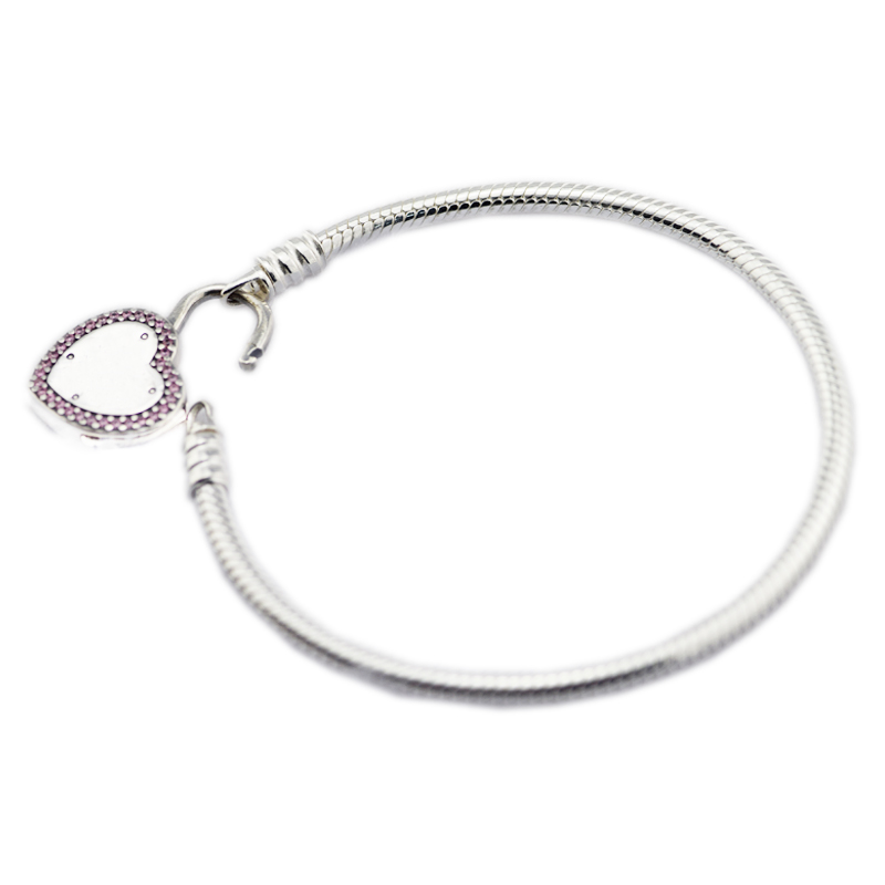 100% 925 Sterling Silver Jewelry Lock Your Promise Bracelets For Women Wholesales Free Shipping