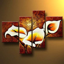 Blooming Lily Flowers 4 panels Modern 100% Hand-painted Floral Oil Paintings BROWN Artwork on Canvas Wall Art Set for Home Decor