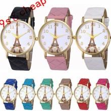 2017 new Paris Eiffel Tower women's brand watch Faux Pu Leather Analog Quartz Wrist Watch For Women reloj mujer #100717