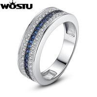 Bamoer Luxury Platinum Plated Women Wedding Ring In Micro Setting With Swiss Zircon Wedding Band For