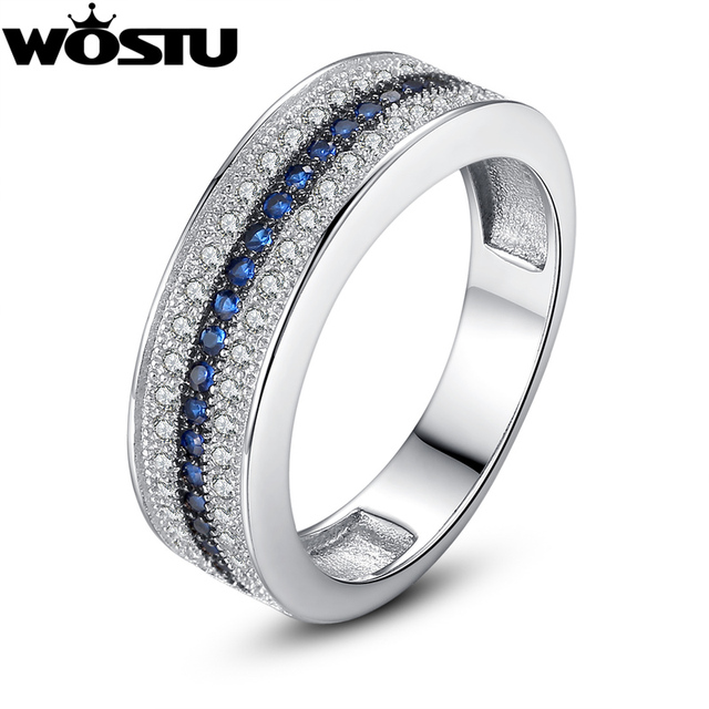Wostu Luxury White Gold Color Women Wedding Ring In Micro Setting With Zircon Band For