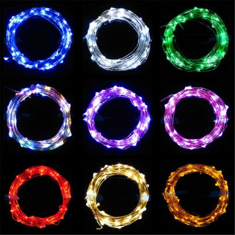 5M 50 LED à piles LED guirlandes de fils de cuivre pour la - Éclairage festif - Photo 5