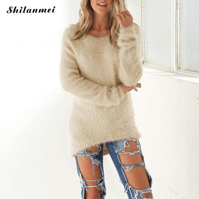 Beige Oversized Trui.2017 Fluffy Oversized Sweater Pullover Long Sleeve Fur Sweater