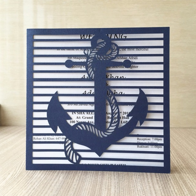 25pcs Laser Cut Shiny Paper Ocean Navigation Theme Anchor Wedding Invitations Cards Birthday Party Greeting Wish