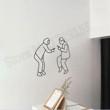 Nordic Style Decorative Simple Sticker INS Two People Vinyl Wall Stickers Bedroom Decal Removable Interior DecorZW278