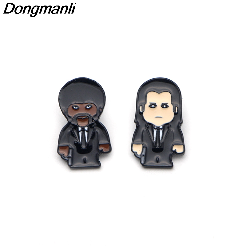 P2291 Dongmanli 20pcs lot wholesale pulp fiction Pin Brooches Hard enamel pin Badges Pinback Brooches for