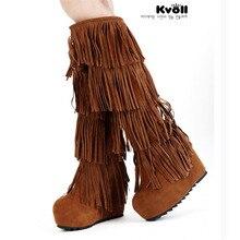 new 2017 Women's 4 Layer Fringe Tassels platform Heel Boots genuine leather  Zapatos Decoration knee high boots Plus Size34-40