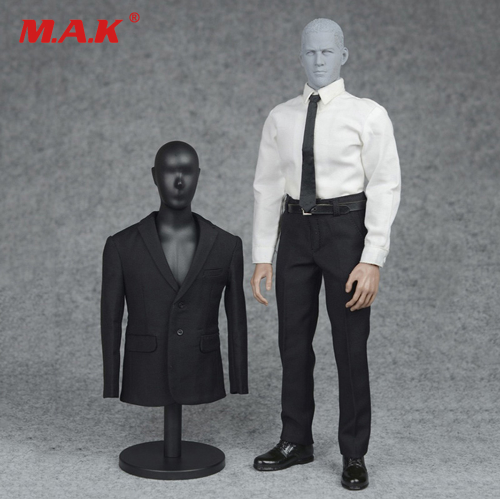 1/6 Male 3 Color Formal Suit & Shoes Clothes Set Black/Navy Blue/Grey Color for 12 inches Man Action Figure 1 6 male clothes set military uniform wwii soviet army cossack cavalry clothes suit for 12 inches man action figure accessory