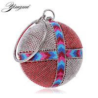 One Side Rhinestones Women Evening Bags Handle Round Shaped Day Clutches Party Dinner Evening Bag Diamonds
