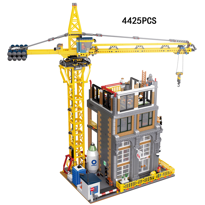Hot creators city street view Construction site building block model worker figures Crane moc bricks toys collection for fans site forumklassika ru куплю баян юпитер