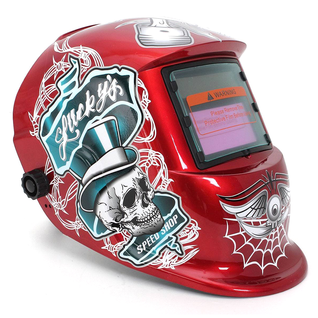 Welding Mask Helmet Solar Automatic Welding (Use Solar Energy for Refill) Red Skull and Spider web Protective AccessoryWelding Mask Helmet Solar Automatic Welding (Use Solar Energy for Refill) Red Skull and Spider web Protective Accessory