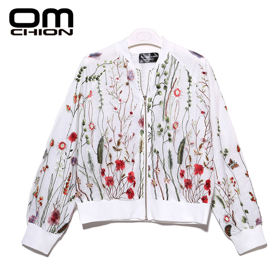 OMCHION 2017 New Spring Cardigan Round Neck Floral Embroidered Jacket Long Sleeve Gauze Patchwork Casual Women Basic Coats BJK02