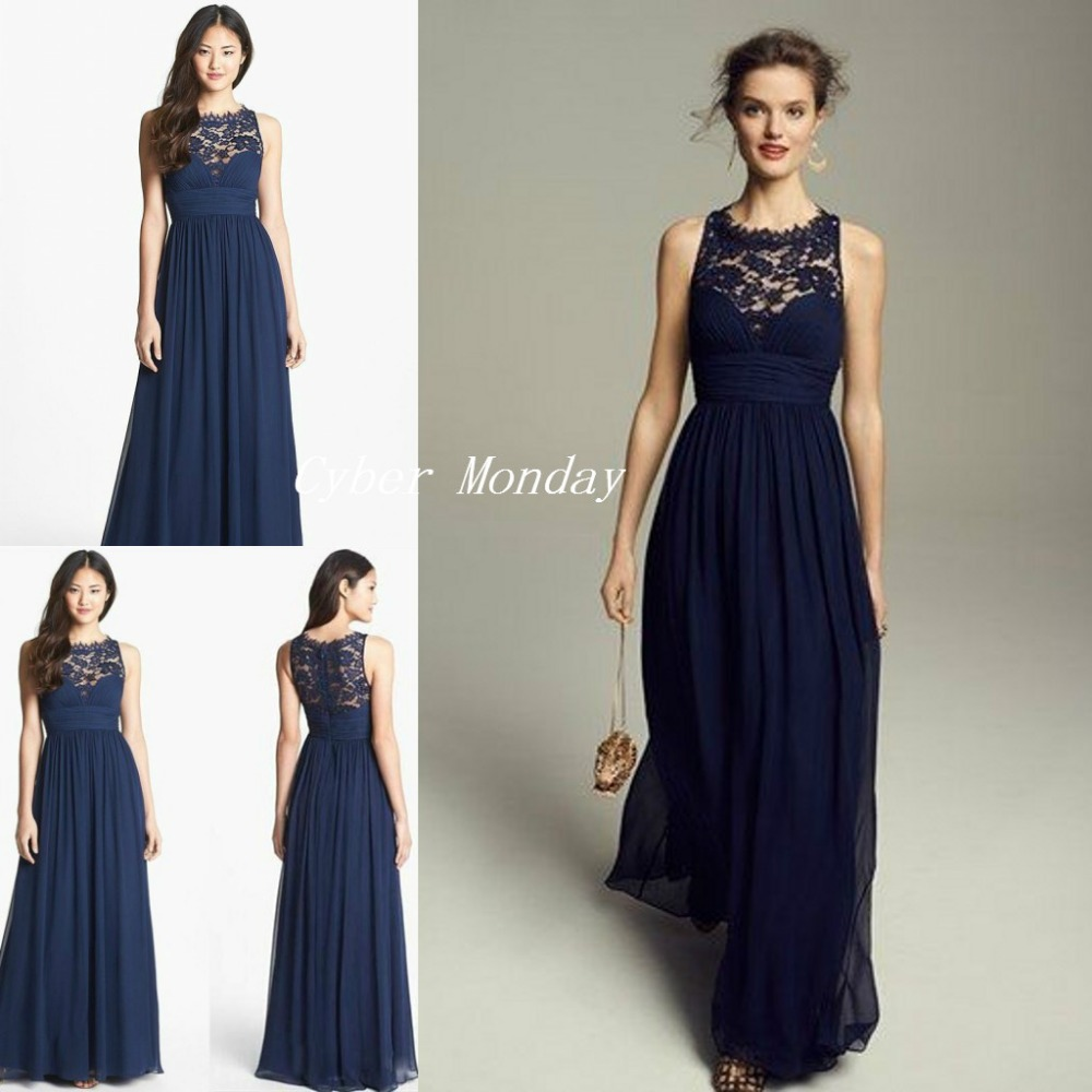 Dark Navy Blue Bridesmaids Dresses 2017 Cheap Long Chiffon Jewel ...