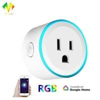 Tonbux 10A WiFi Mini Smart Plug APP Remote Control Timing Round Shape Google Home Colorful LED
