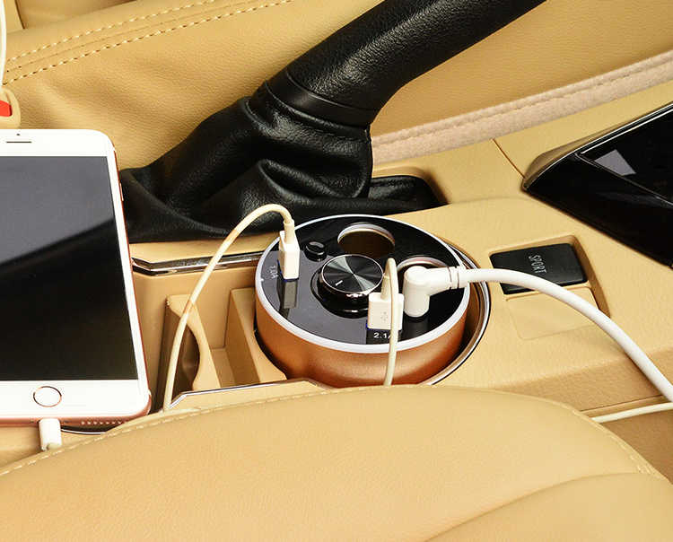 متعددة الوظائف شاحن سيارة حامل الكأس المزدوج ولاعة السجائر مآخذ محول الطاقة 2 منافذ USB مع بلوتوث اللاسلكية سماعة